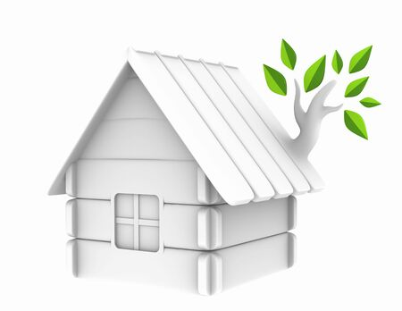 evolved: 3d harmless house with an evolved branch on a roof  Stock Photo