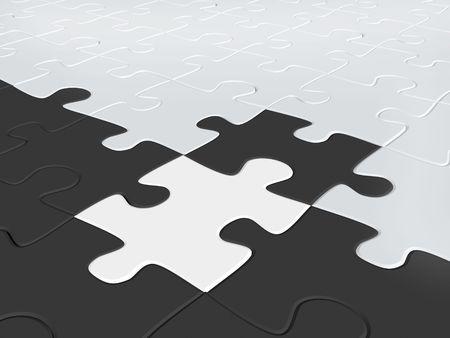 perplexing: 3d puzzles de blanco y negro a color