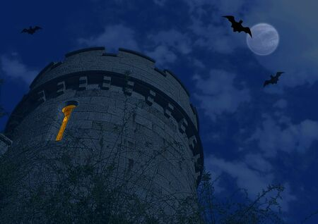 Halloween background with bat and dark castle photo