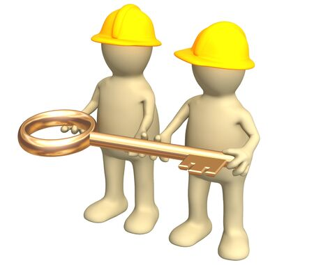 Two builders - puppets, holding in hands a gold key. Objects over white photo