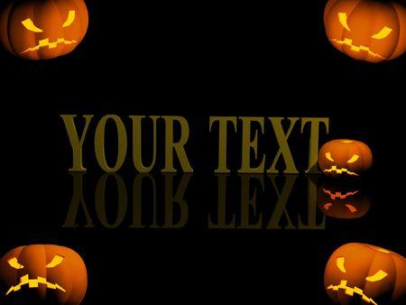 Halloween background with evil pumpkins photo