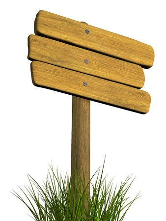 channelize: Wooden signboard from three boards. Object over white