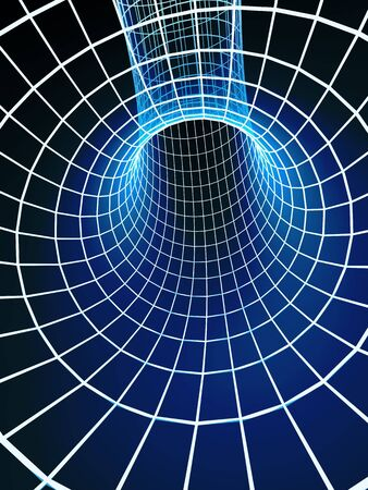 digitally generated: The blue abstract 3d tunnel from a grid Stock Photo
