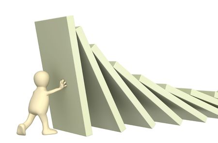 3d puppet: 3d puppet, holding figures of a dominoes. Object over white Stock Photo
