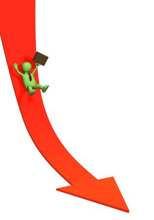 negativity: 3d businessman -  puppet, sliding downwards on an arrow