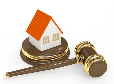 arbitrate: Sale of a house. Object over white Stock Photo