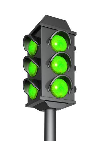 danger signal: Green signal of a 3d traffic light