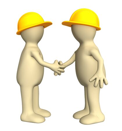 job satisfaction: Hand shake of two puppets - builders