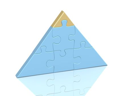 gold top: Pyramid from parts of a puzzle with gold top