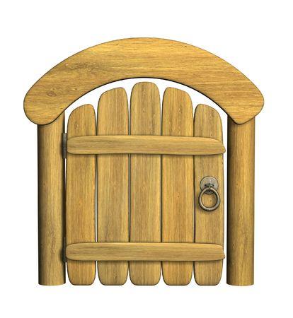 portones: Cerrado antigua puerta de madera. Objeto m�s de blanco Foto de archivo