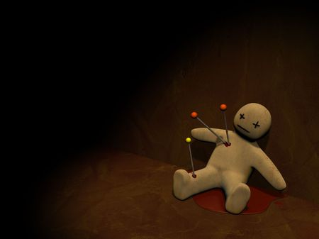 Dark series - voodoo doll, pierced with pins Stock Photo - 3669616