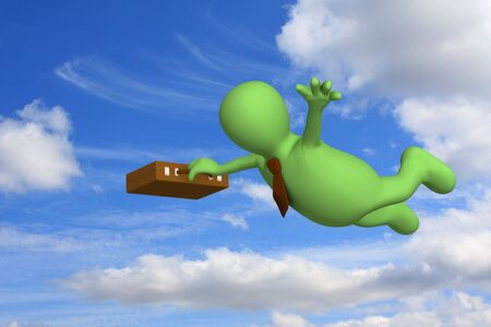 expressing: Puppet - businessman flying on a background of clouds Stock Photo