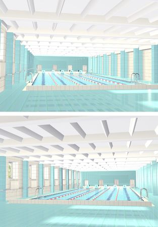 poolside: 3d interior of public sports pool Stock Photo