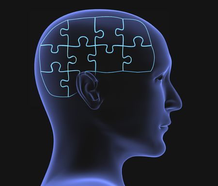 Brain in the form of the combined puzzle Stock Photo - 3701121