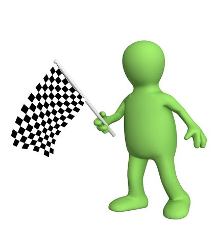 3d puppet with checkered flag. Object over white photo