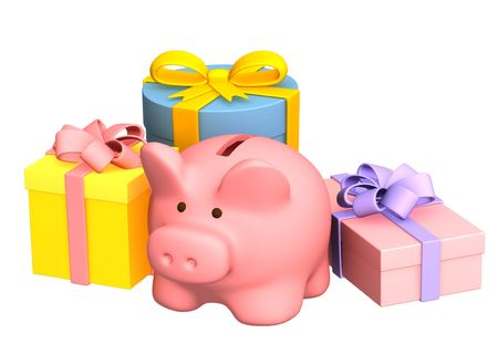 Christmas gifts and piggy bank. Objects over white photo