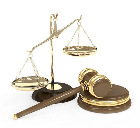 unequal: Gold scales and auction hammer. Objects over white