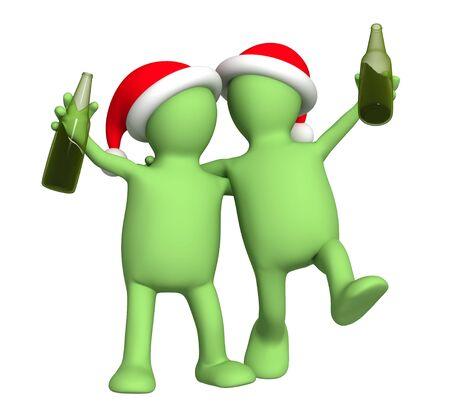 Puppets - friends celebrating Christmas photo