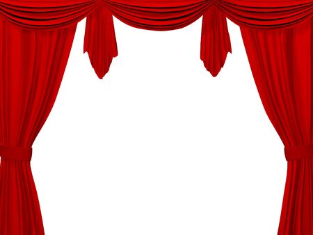 Theatrical curtain of red color. Object over white photo