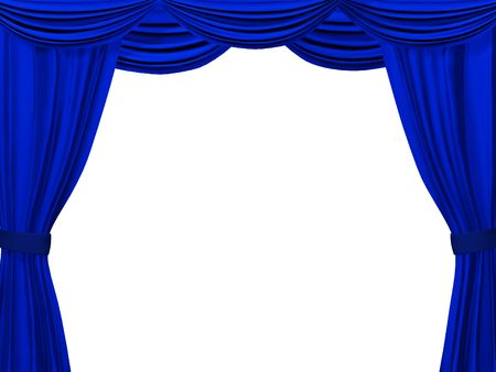 theater auditorium: Theatrical curtain of blue color. Object over white Stock Photo