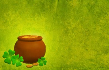 Green grunge background with a pot and clovers Stock Photo - 3769970