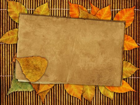 Japanese reed mat, paper sheet and autumn leafs photo