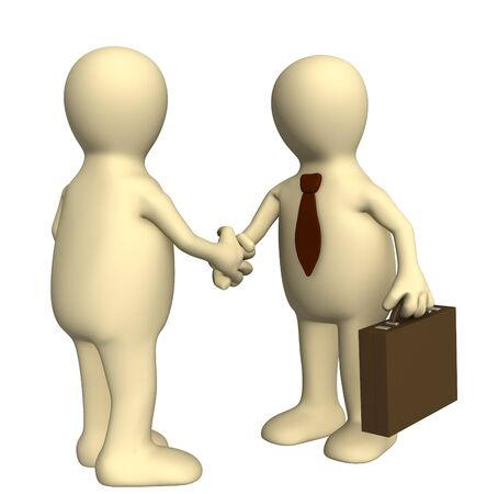 Shake hand of two 3d stylized people . Objects over white Stock Photo - 3779978