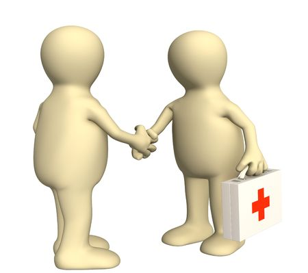 congratulating: Hand shake of the doctor and the patient Stock Photo