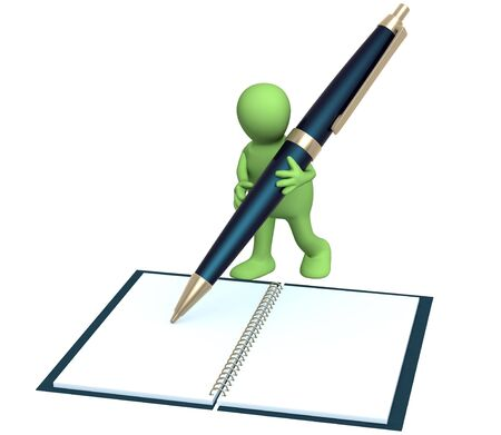 3d puppet with a pen. Object over white photo