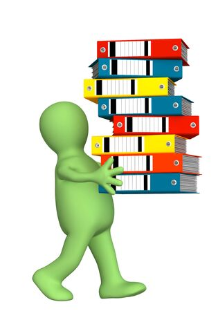 distribution picking up: 3d puppet, carrying folders with documents Stock Photo
