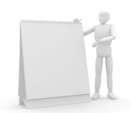 show time: 3d puppet with empty calendar in hands. Object over white
