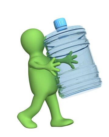 distribution picking up: 3d puppet, carrying a bottle with clean water