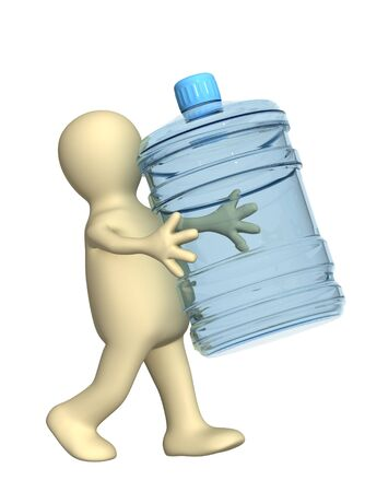 3d puppet, carrying a bottle with clean water photo