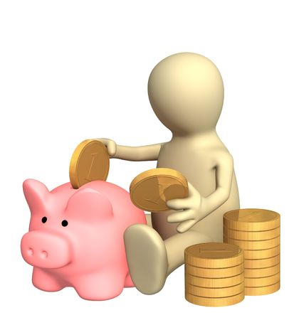 3d puppet who is saving money in piggy bank. Object over white