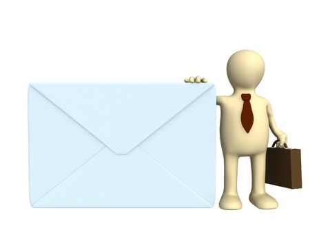 addressee: Puppet - businessman with the big post envelope