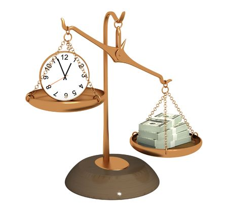 unequal: Concept - time is money. Objects over white