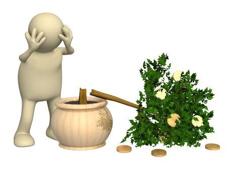 3d puppet and broken monetary tree photo