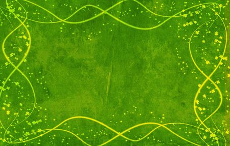 backdop: Green background with yellow lines and leaves clovers