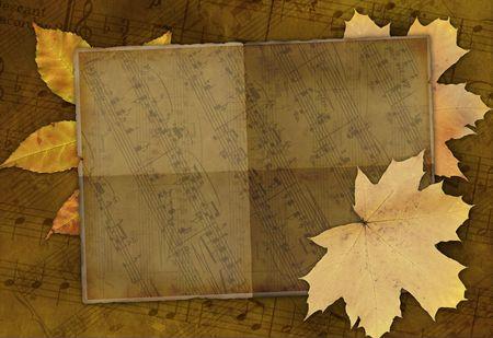 simbolos musicales: Grunge fondo con s�mbolos musicales Foto de archivo