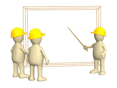 3d puppets - builders discussing the project Stock Photo - 3846404