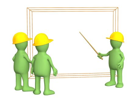 discussing: 3d puppets - builders discussing the project Stock Photo