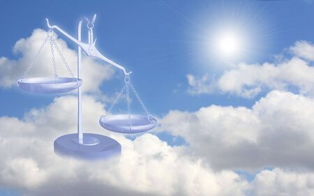 Conceptual image - balance on clouds Stock Photo - 3880776