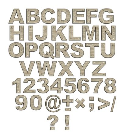 cartas antiguas: Alfabeto - cartas de metal oxidado con remaches. Objetos de m�s de blanco