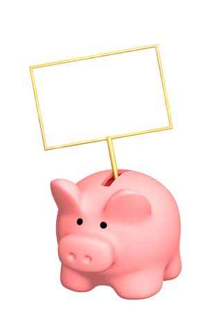 Piggy bank with poster - object over white photo