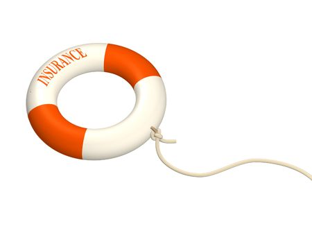wreckage: 3d lifebuoy ring, adhered to a cord. Objects over white Stock Photo