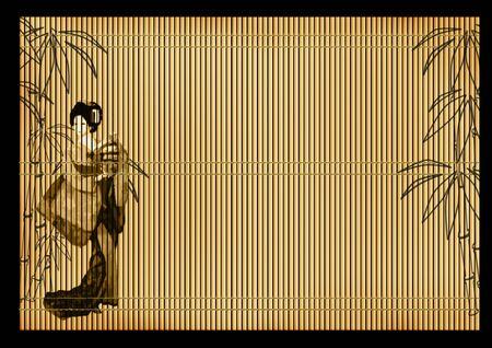 rietkraag: Achtergrond - een oude Japanse volumetrische riet mat Stockfoto