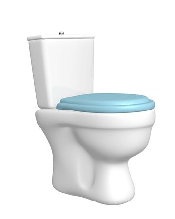 necessity: Toilet bowl, with the closed seat of blue color. Object over white