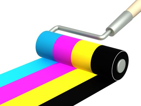 Platen painting with an bright paints photo