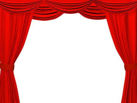 classical theater: Theatrical curtain of red color. Object over white