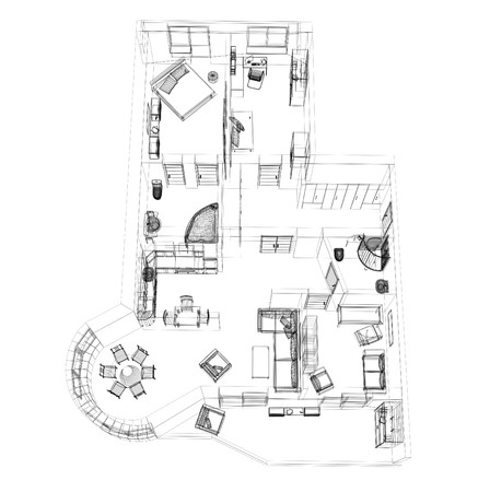 3d sketch of a four-room apartment. Object over white Stock Photo - 3947994